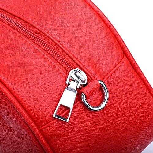 bandoulière Zipper à sac pure JIANGfu Casual Sac Femme Sac messager à sac de Cabas Mode femmes Rouge mode couleur main cuir Main Femme 4ZRUng
