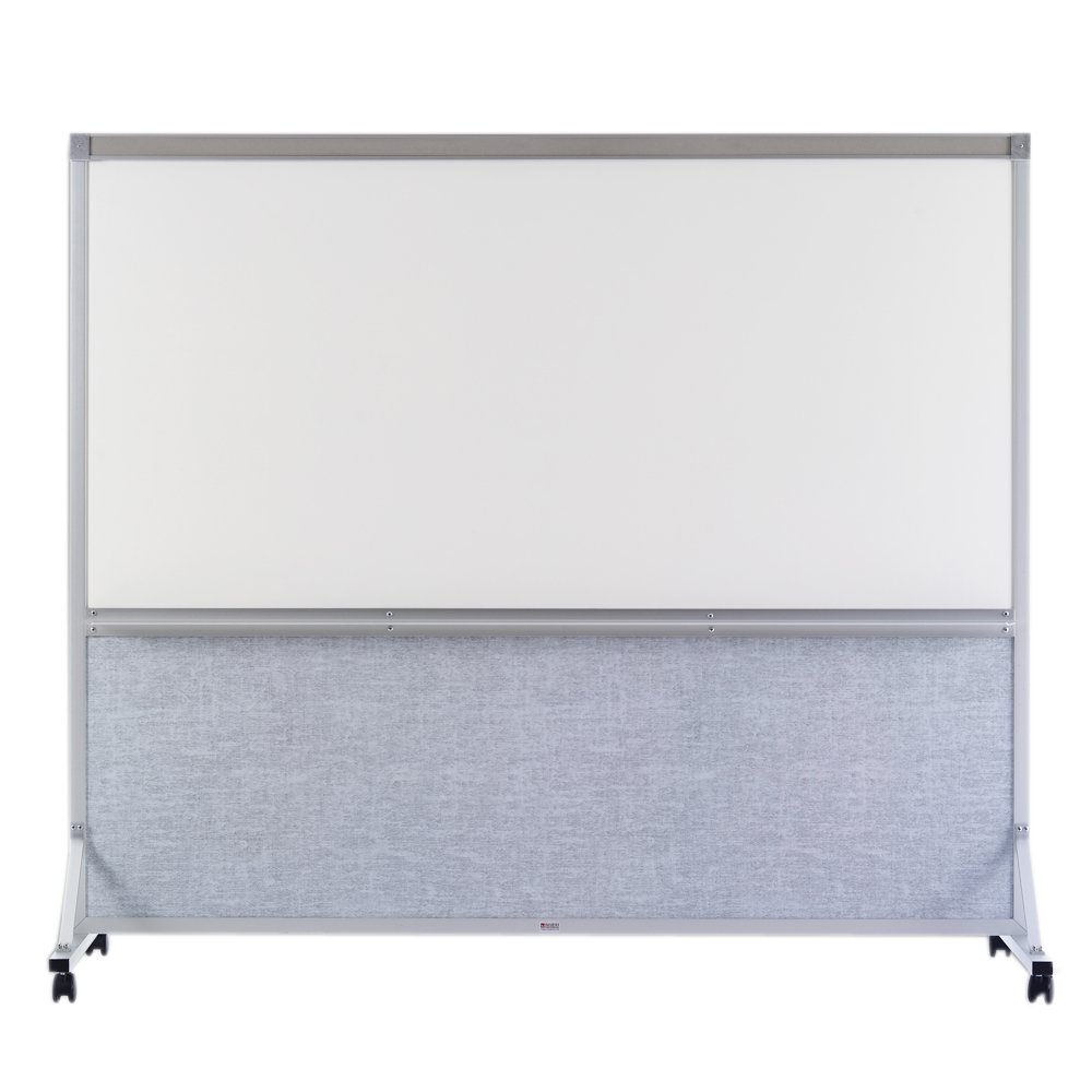 Marsh 64''x72'' Sea Mist Vinyl White Markerboard Double Duty Space Divider, Alum