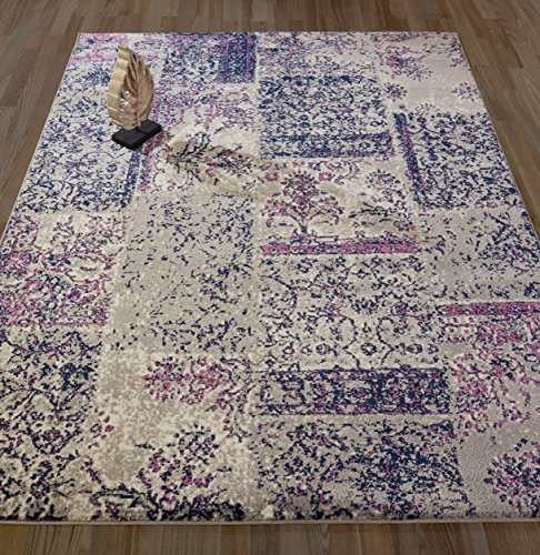 "Diagona Designs Concurrent Damask Patchwork Design 8' by 10' Area Rug, Greay / Navy / Purple, 94"" W x 118"" L"