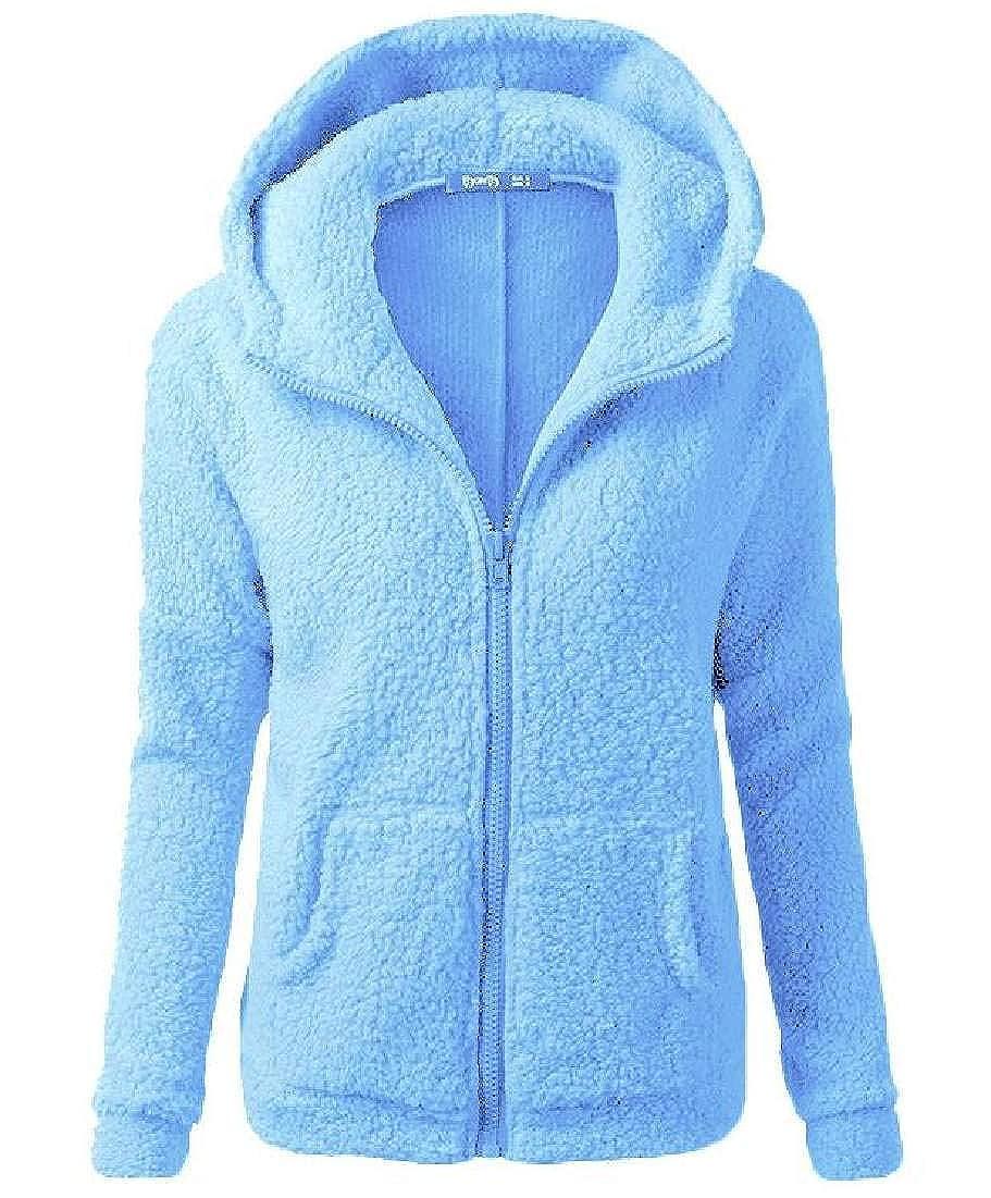 Abeaicoc Womens Fleece Hooded Autumn Fuzzy Outwear Full Zip Hoodie Coat