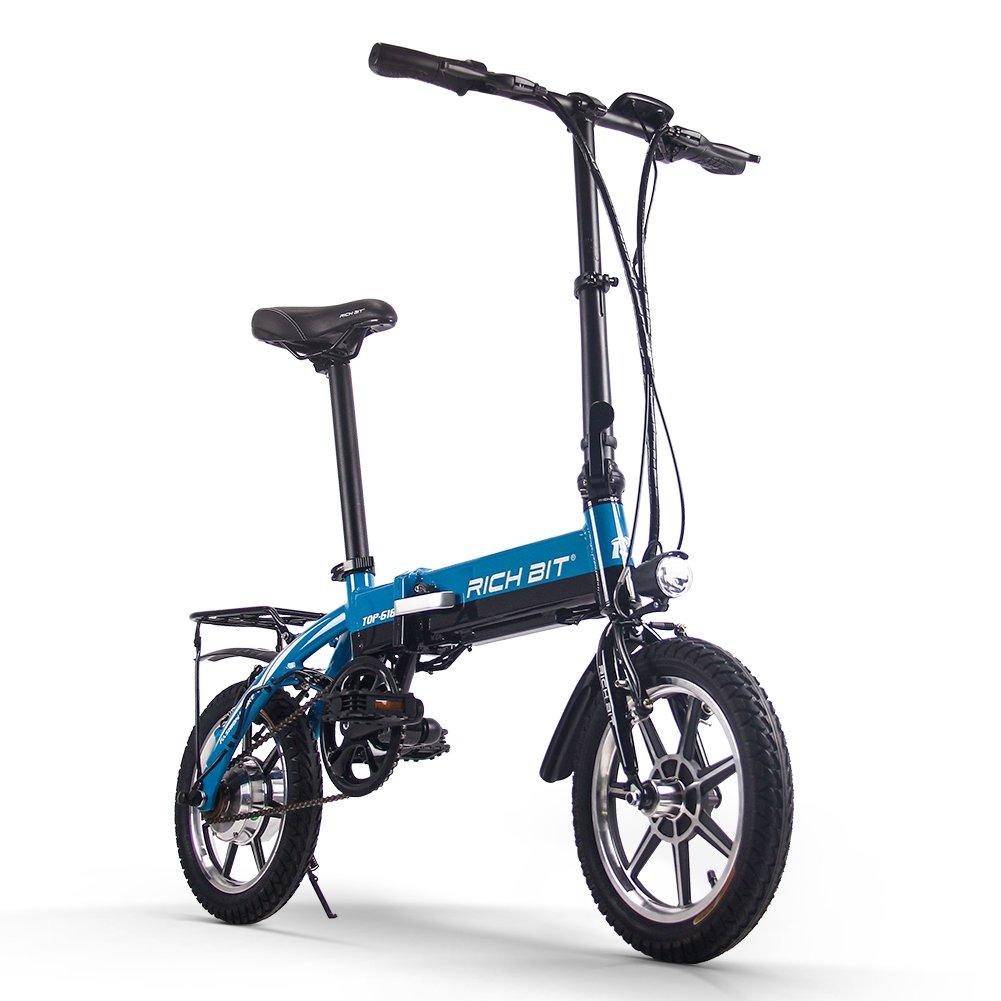 RICH BIT 618 電動アシスト自転車 14インチ 折りたたみ 36V*10.2AH/8AH 法律に合う 公道で走れます ミニ自転車 アルミ合金フレーム 泥除け付け 4色 B07DQLBQT3 ブルー(8AHバッテリー) ブルー(8AHバッテリー)
