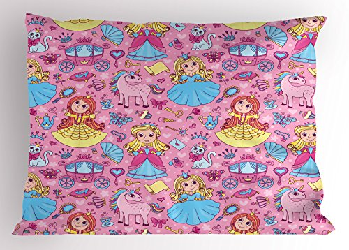 - Lunarable Princess Pillow Sham, Cartoon Characters with Childish Figures Cute Girls Unicorns Fantasy, Decorative Standard Size Printed Pillowcase, 26 X 20 Inches, Pale Blue Pink Yellow