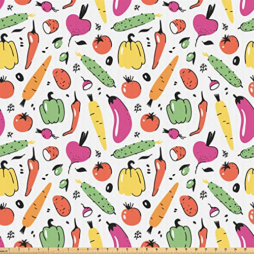 Ambesonne Vegetable Fabric by The Yard, Artistic Food Drawing Composition Pickles Olives and Bell Peppers Colorful Design, Microfiber Fabric for Arts and Crafts Textiles & Decor, 5 Yards, Multicolor