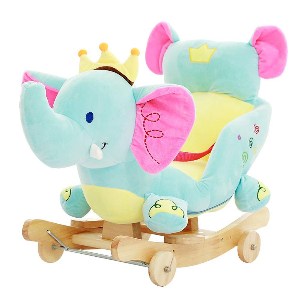 HUYP Silla Mecedora Música Baby Shake Juguetes para Niños Grandes Regalo De Edad Pequeño Carro De Madera para Caballos (Color : B)
