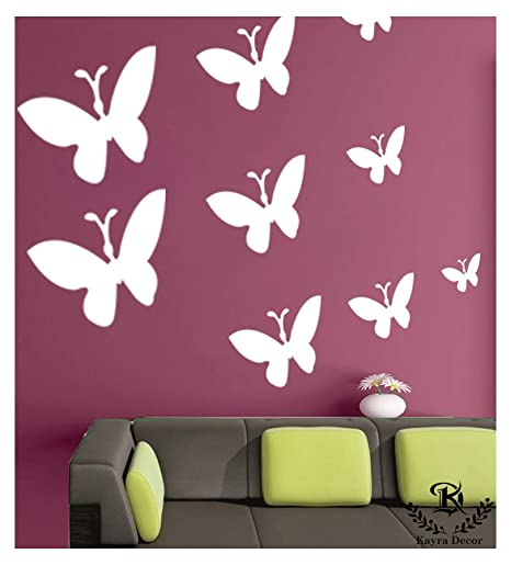 Kayra Decor Beautiful Butterflies Reusable Wall Stencils Diy