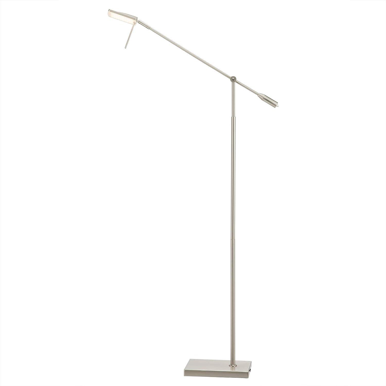 CO-Z Dimmable LED Floor Lamp, Brushed Nickel Floor Lamp with Adjustable Head, Modern Standing Pole Light for Living Room Sofa Home Office Desk Lighting, Pharmacy-Style Inspired LED Floor Task Lamp