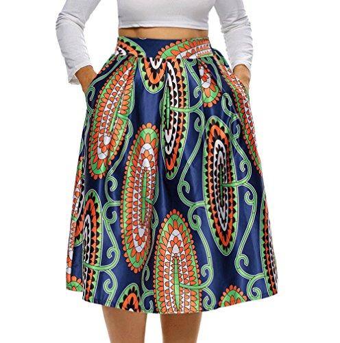 8827 - Vintage High Waist Floral Printed A-Lined Midi Skirt (6) 2X, Paisley