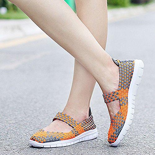 Creeker Mocasines Ligeros de Tejido Elástico Verano Zapatillas Mujer para Caminar Naranja