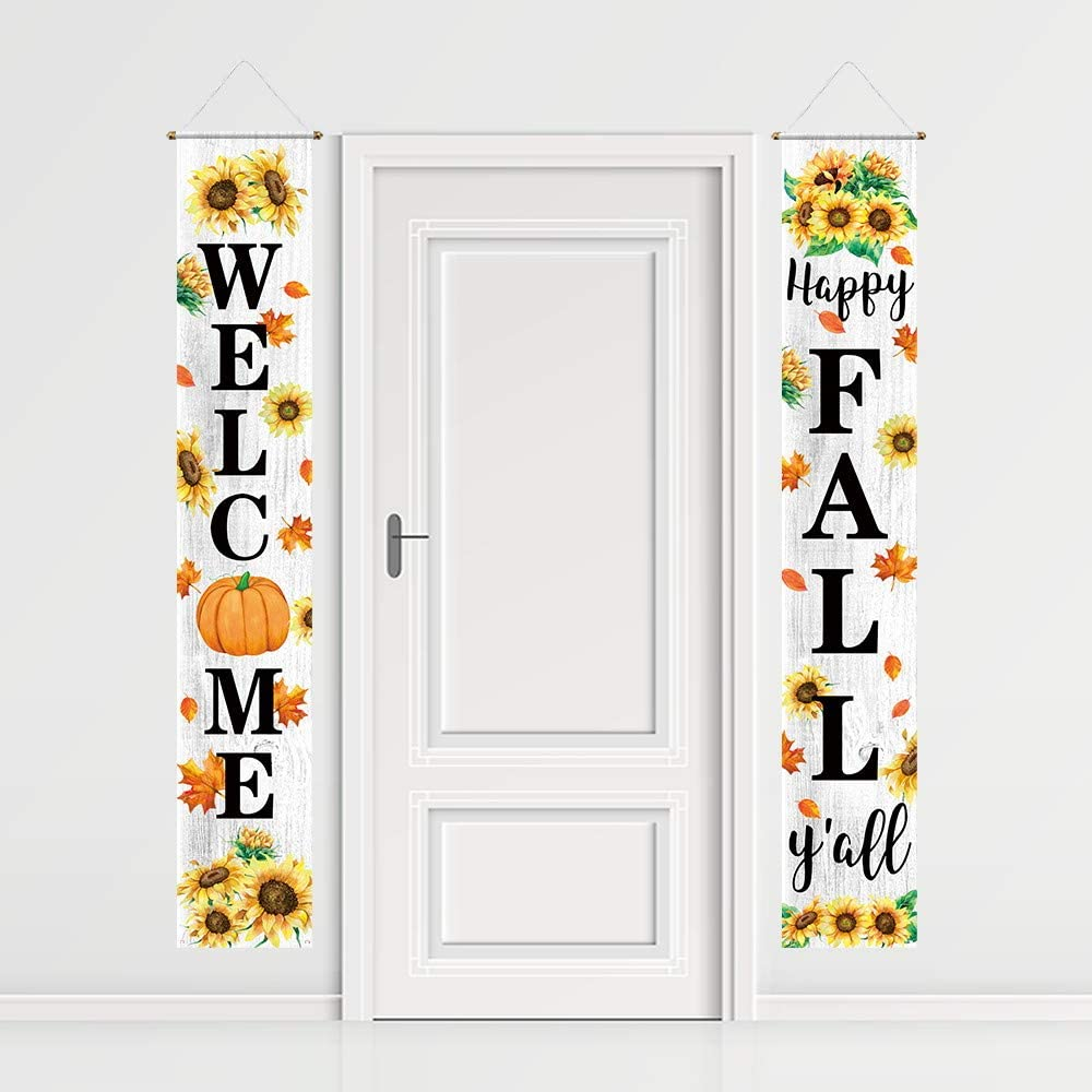 Funnytree Happy Fall Porch Sign Welcome Autumn Banner Sunflower Pumpkin Maple Leaves Party Backdrop Lawn Decor Wall Hanging Flag Outdoor Indoor Photobooth Prop Windproof Events Supplies Polyester 2PCS