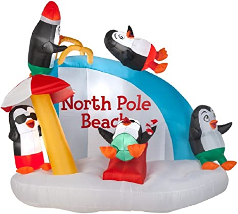Amazon Com Gemmy Airblown Inflatable Penguins On Vacation Having Fun On A Slide Indoor Outdoor Holiday Decor 7 5 Foot Wide X 6 Foot Tall Home Kitchen
