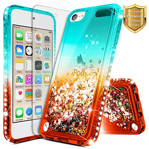 Green Ipod Touch (iPod 5 / iPod 6 Case, iPod Touch 5th / 6th Generation Case w/[Tempered Glass Screen Protector], NageBee Glitter Liquid Quicksand Waterfall Flowing Sparkle Bling Diamond Girls Cute Case -Teal/Red)