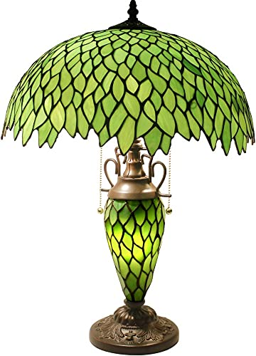 Tiffany Style Table Lamp W16H24 Inch Tall Green Stained Glass Wisteria Lampshade Antique Night Light Base S523 WERFACTORY LAMPS Lover Living Room Bedroom Office Study Reading Desk Nightstand Art Gift