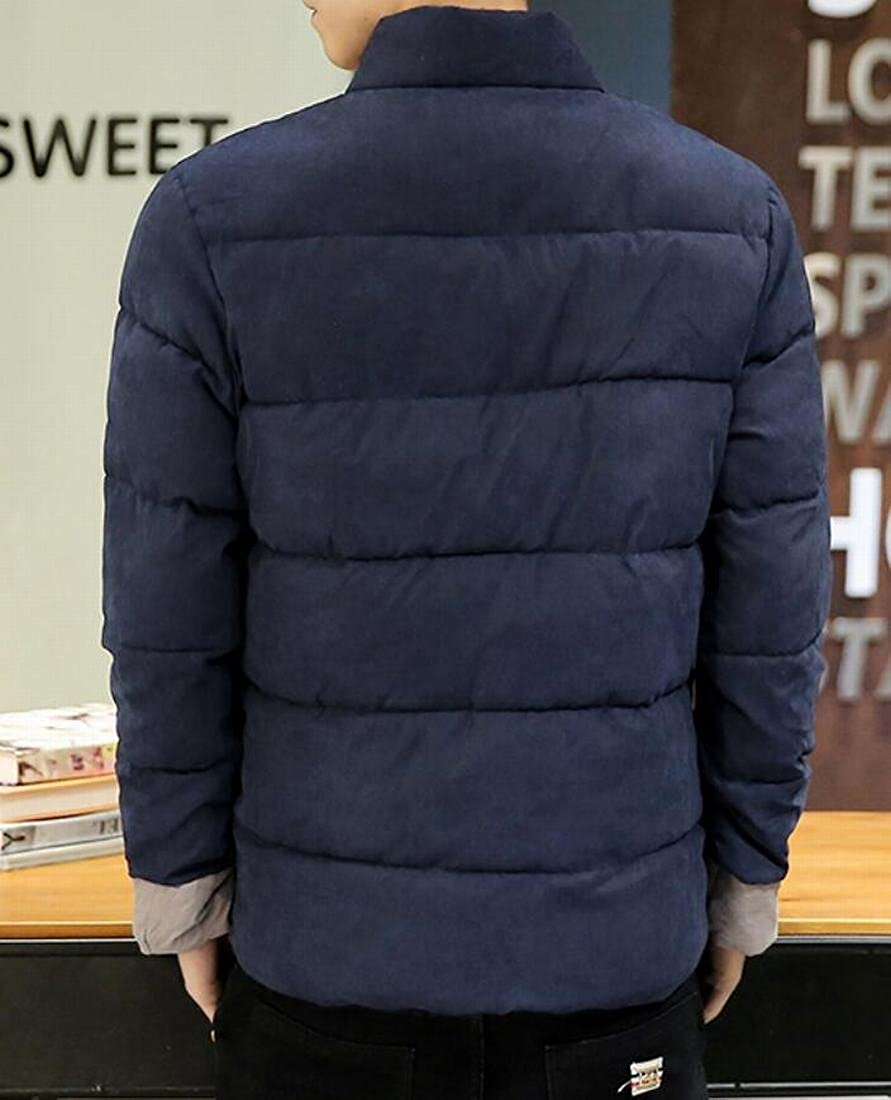 Zantt Men Quilted Padded Chinese Style Print Stand Collar Down Coat Jacket