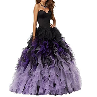 c8ba831698f Chady 2017 Sweethart Ball Gown Puffy Ombre Organza Prom Dresses Long  Quinceanera dresses Black Lilac Prom