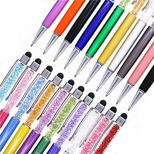 Pen Bling sets Pen Rhinestones Crystal Metal Ballpoint Pens Fine Black Ink Office Supplies(package of 10) ()