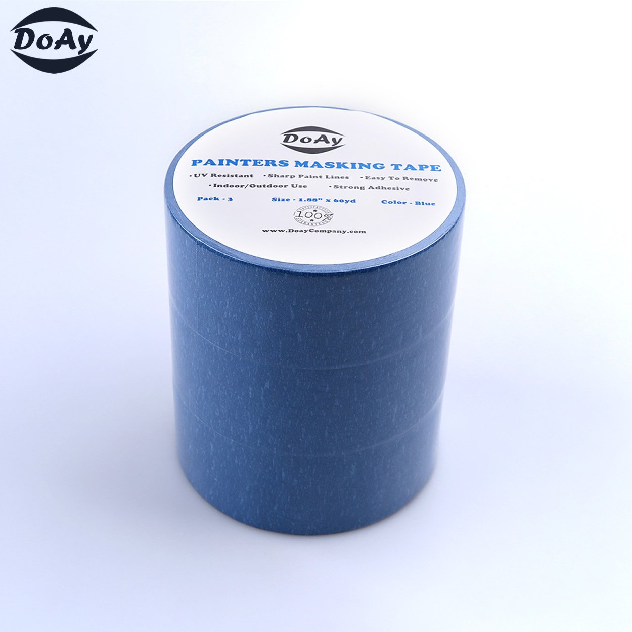 Painters Tape 3pk 2'' x 60 yd | Professional Blue Painters Masking Tape | Easy and Clean Removal | Multi Surface Use | ISO 9001 Worldwide Quality | Leaves No Residue Behind | (48mm .1.88in) (3 Pack) by DoAy (Image #6)