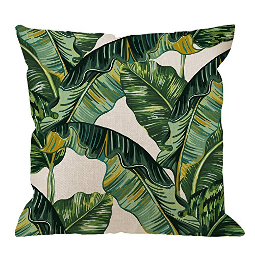 - HGOD DESIGNS Palm Leaves Decorative Throw Pillow Cover Case,Tropical Palm Leaves Jungle Leaf Cotton Linen Outdoor Pillow cases Square Standard Cushion Covers For Sofa Couch Bed 18x18 inch Green
