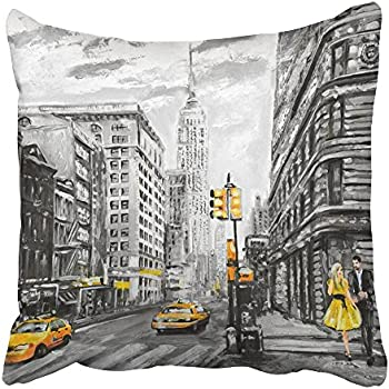 Emvency Throw Pillow Covers Print Oil Painting on Canvas Street View of New York Man and Woman Yellow Taxi Modern in Gray and Colors Polyester 20 X 20 Inch Square Hidden Zipper Decorative Pillowcase
