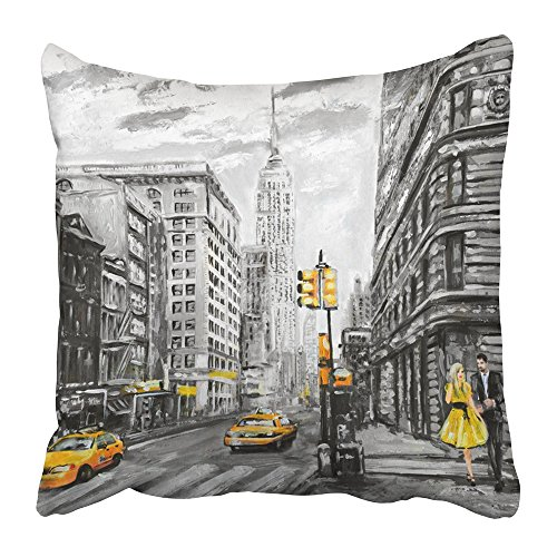 Emvency Throw Pillow Covers Print Oil Painting on Canvas Street View of New York Man and Woman Yellow Taxi Modern in Gray and Colors Polyester 20 X 20 Inch Square Hidden Zipper Decorative Pillowcase (Nyc Decorative Pillows)