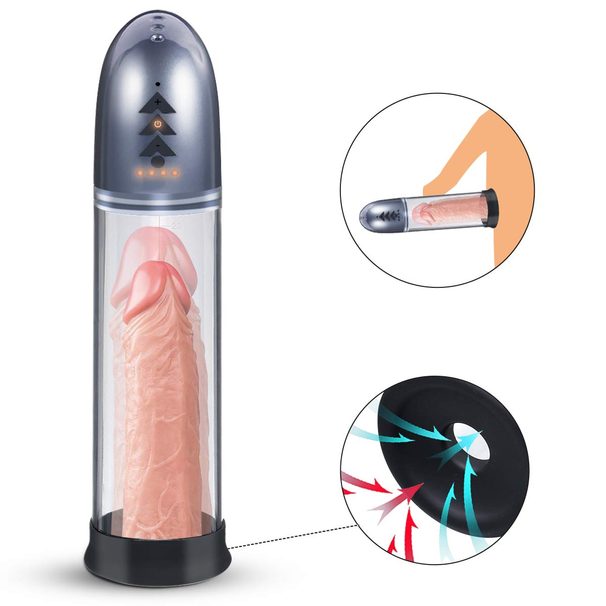 Automatic Penis Vacuum Pump for Men, Fovel Cock Enlarger with 4 Suction Intensities for Stronger Bigger Erections Improve, Rechargeable Male Enhancing Masturbator Sex Toy with Cylinder & Scale by Fovel