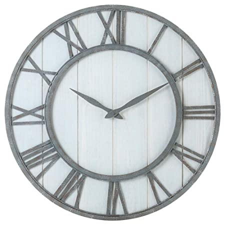 Oldtown Farmhouse Metal Solid Wood Noiseless Wall Clock Whitewash, 24-inch