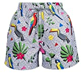 SHOMS Retro Zoo Men Slim Fit Quick Dry Swimwear Shorts Beach Surf Briefs Swimsuit Trunks with Beach Bag (XX-Large)