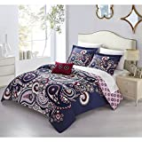 4 Piece Purple Pink Paisley King Size Duvet Cover Set, Southwest Boho Chic Shabby Bright Damask Diamond Pattern Floral Flowers Oriental Embroidered Reversible, Microfiber, Polyester