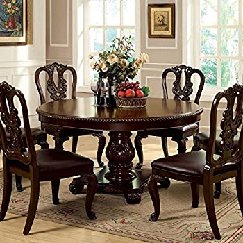Exceptional Bally English Style Brown Cherry Finish 5 Piece Formal Round Dining Table  Set Pictures Gallery