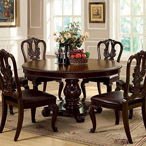 Brussels Traditional Dining Room Set 7 Piece Set: Bally English Style Brown Cherry Finish 7-Piece Formal
