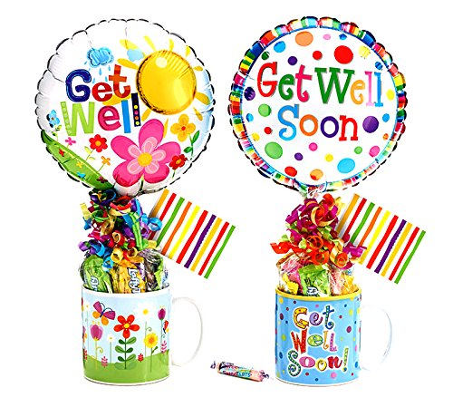 Get Well Gift Set w/Candy, Get Well Mug, Get Well Balloon- Assorted Styles by Burton & Burton