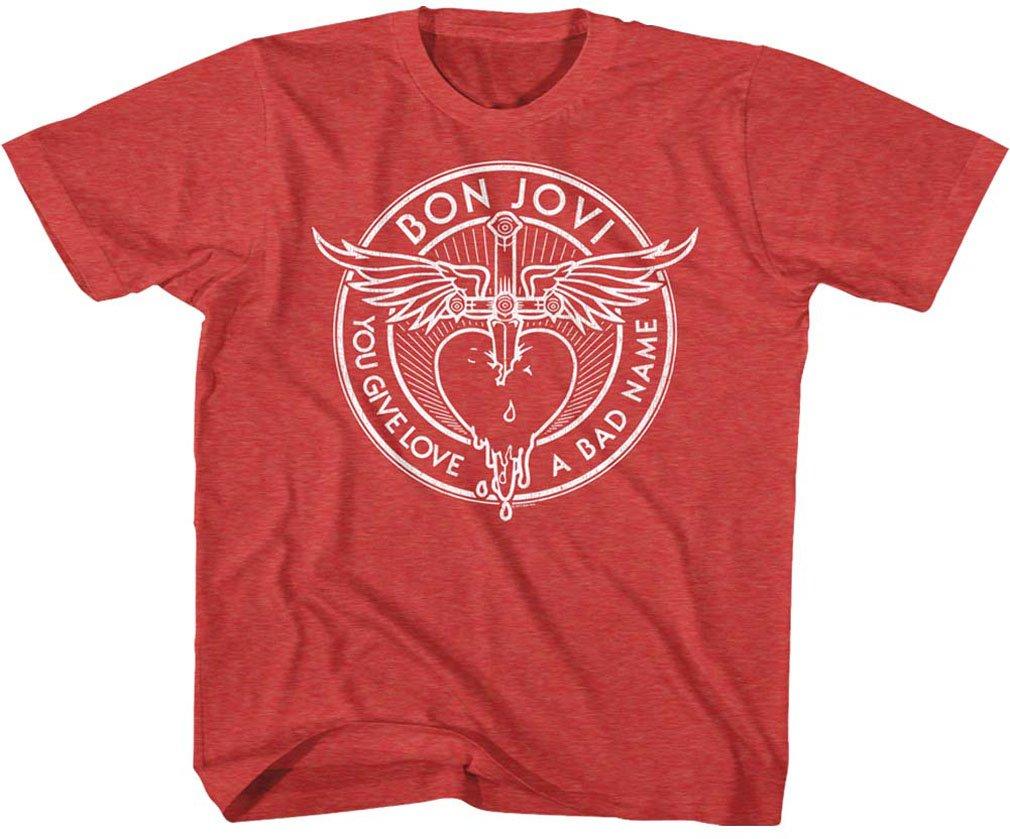 DressCode Bon Jovi - Unisex-Child Bad Name T-Shirt, Size: Medium, Color Vintage Red