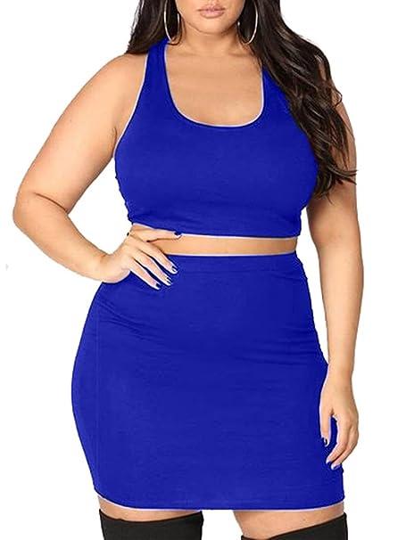 7a8b4d7e524 LAGSHIAN Women's Plus Size Two Piece Outfits Sexy Bodycon Party Mini Dresses  Royal Blue