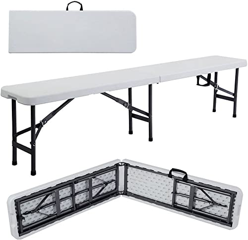 VINGLI 6 feet Plastic Folding Bench,Portable in/Outdoor Picnic Party Camping Dining Seat,Off-White Garden Soccer Multipurpose Entertaining Activitie