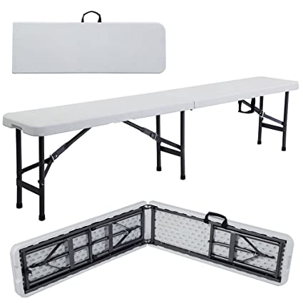 Excellent Lykos 6 Portable Plastic Indoor Outdoor Picnic Party Camping Dining Folding Bench Off White Ibusinesslaw Wood Chair Design Ideas Ibusinesslaworg