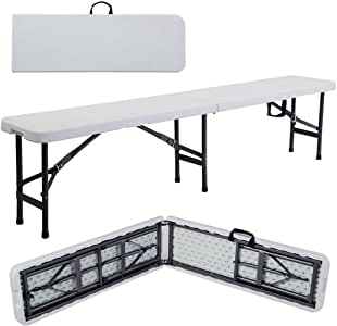 yang in/Outdoor Picnic Party Camping Dining Folding Bench Off-White