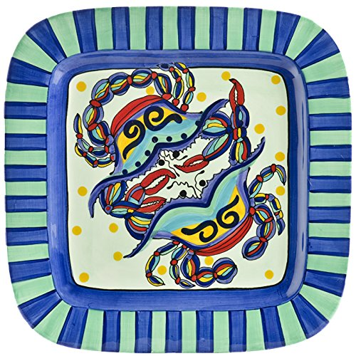 Christmas Tablescape Décor - Ceramic whimsical and vibrant crab multicolor design square platter by Dana Wittmann