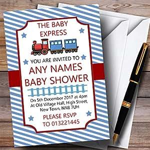 Amazon blue stripy train invitations baby shower invitations share facebook twitter pinterest filmwisefo