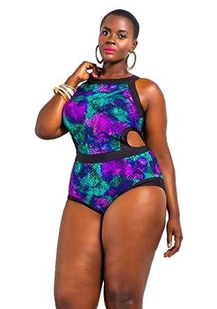 e509906214adf KDHJJOLY Soft womens one piece cut out plus size swimwear colourful pattern  Purple 2L Hot
