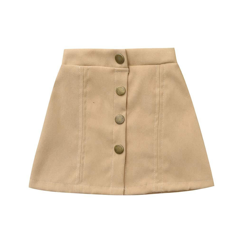 Baby Girl Skirt,Fineser Baby Girls Botton Solid Skirt Beach Skirt Sun Skirt for Toddler Skirt Age 1-5 Years (Khaki, 12-18 Months(90))