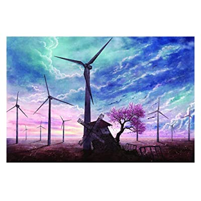 1000 Piece Jigsaw Puzzle for Adults & Kids - Beautiful Windmill Drawing Landscape Educational Assembling Toys - Developing Fine Motor Skills, Memory & Shape Sorting - Gift for Birthday & Mother's Day: Toys & Games