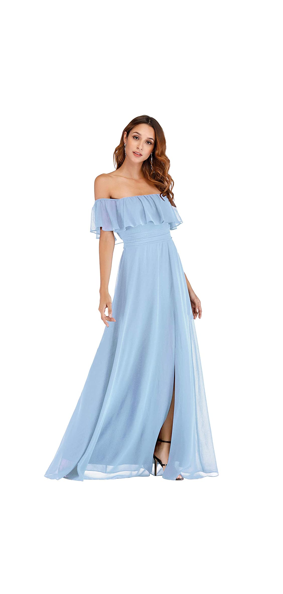Womens Off The Shoulder Ruffle Party Dresses Side
