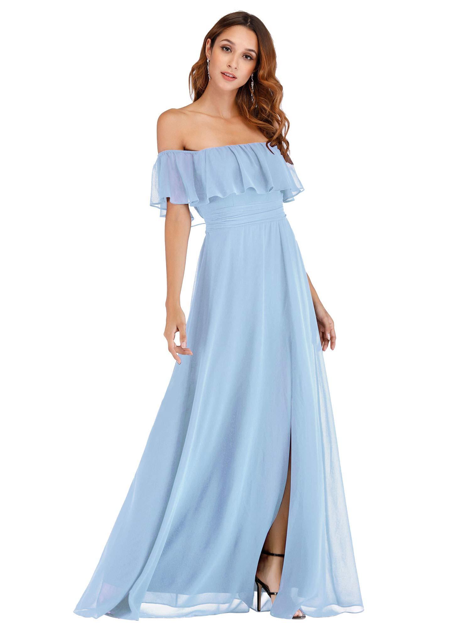 Womens Off Shoulder Ruffle Elegant Dress Wedding Guest Dress For Women Blue Us6