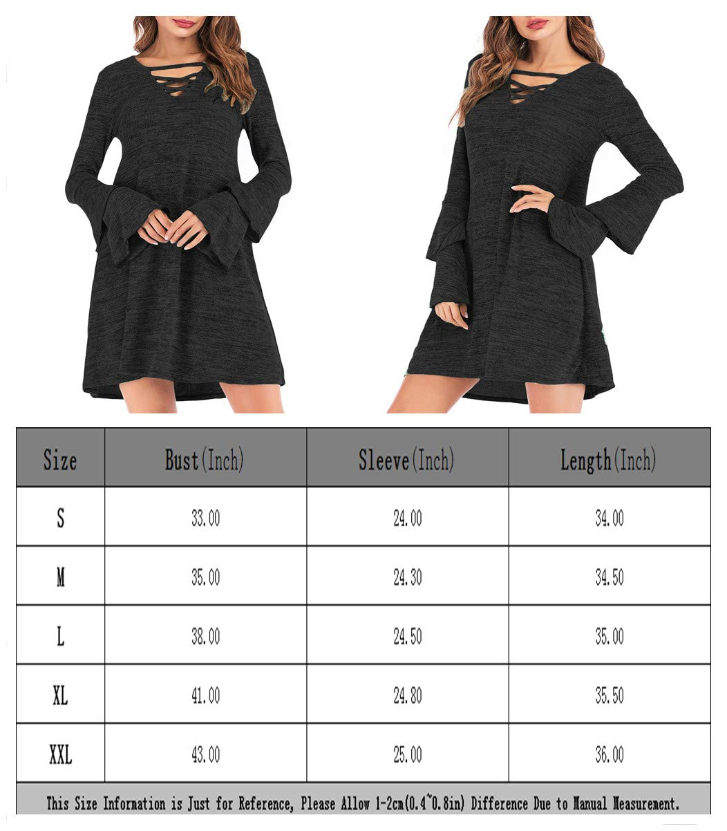 Eanklosco Women's Sweater Dress Flare Long Sleeve Knit Jumper Tops Criss Cross V Neck Loose Swing Tunic Dress (Black, XL)