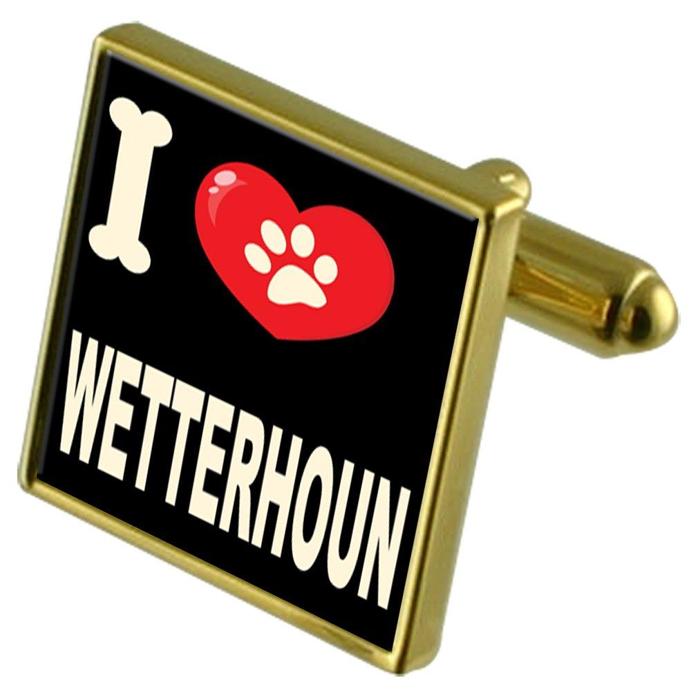 Wetterhoun Select Gifts I Love My Dog Gold-Tone Cufflinks /& Money Clip