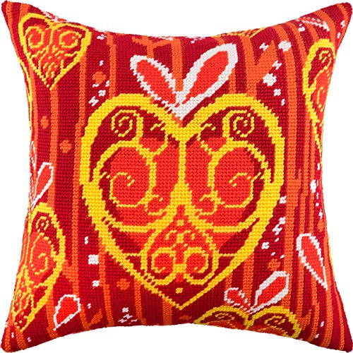 Fire in The Heart. Cross Stitch Kit. Throw Pillow Case 16×16 Inches. Home Decor, DIY Embroidery Needlepoint Cushion Cover Front, Stamped Tapestry Canvas, European Quality. Romance