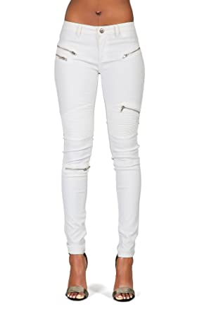 785755a03e06 Glook Womens White Leather Look Trousers Jeggings Slim Fit Biker Jeans Pants  W Zips  Amazon.co.uk  Clothing