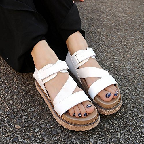 TYERY Sandalias Planas Simple Estudiante Todo Coincida Arena Plataforma Gruesa Slender con Zapatos Romanos, Blanco, 35