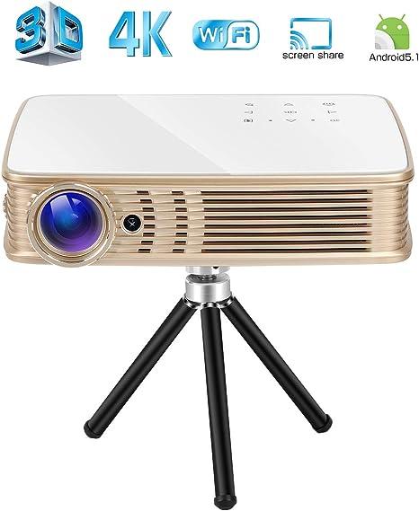 Deeirao Proyector 3D 4K, proyector de Cine en casa DLP portátil ...