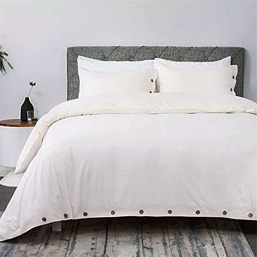 Bedsure 100 Washed Cotton Duvet Cover Sets Queen Full Size Cream Bedding Set 3 Pieces 1 Duvet Cover 2 Pillow Shams Kitchen Dining