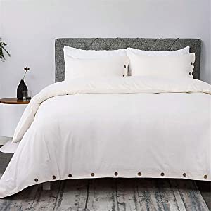 Bedsure 100% Washed Cotton Duvet Cover Sets Queen Full Size Cream Bedding Set 3 Pieces (1 Duvet Cover + 2 Pillow Shams)